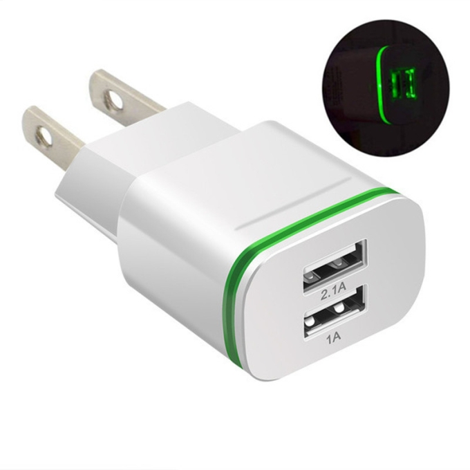 Universal LED Plastic Dual USB Power Adapter for Phone