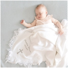1. Personalised Christening Baby Shawl